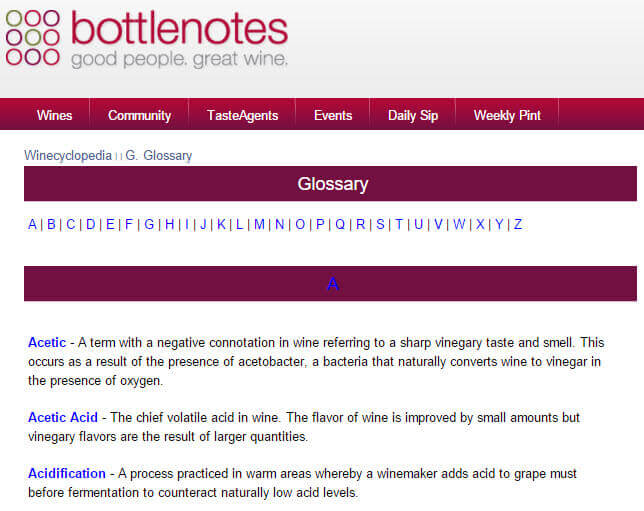 Glossary of wine-related terms for a wine shop